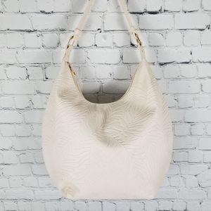 MIA&LUCA   palm leaf embossed hobo shoulder bag